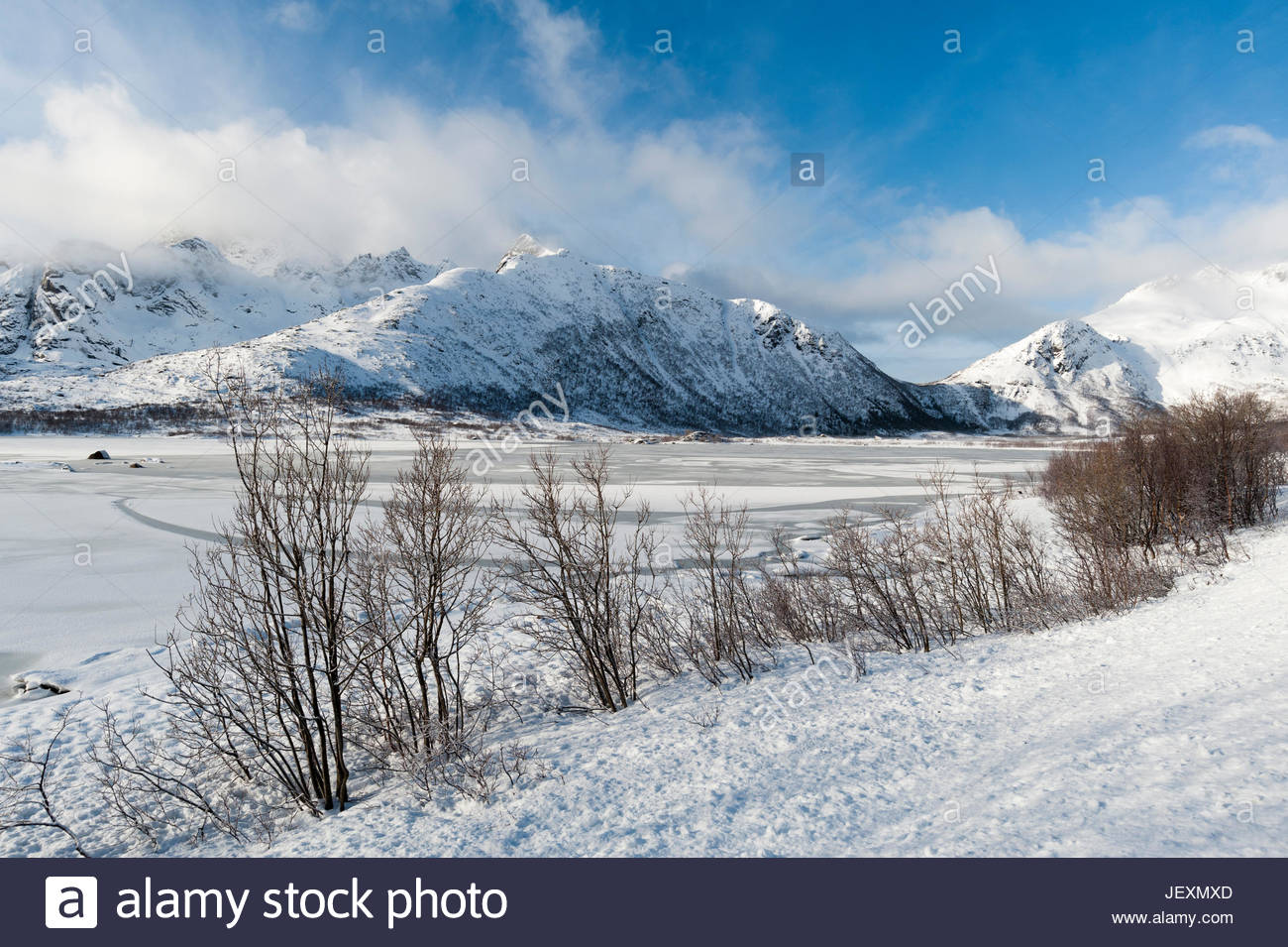 A scenic and snowy view of a frozen fjord near Svolvaer. - Stock Image