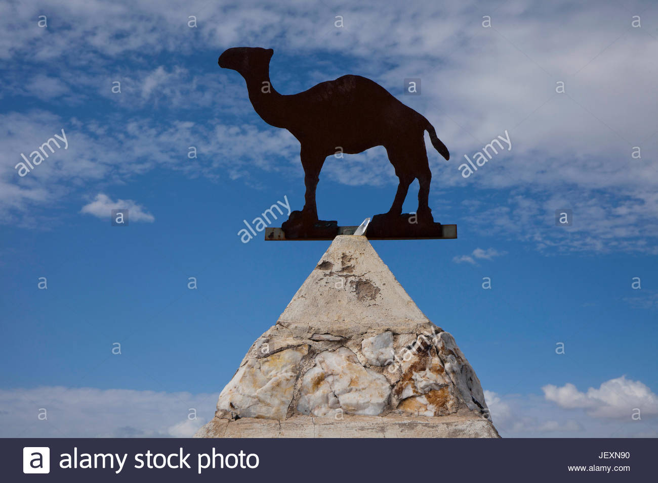 A monument in a cemetery to Hi Jolly, a Syrian born camel herder who was recruited to manage the Army's camels in Stock Photo