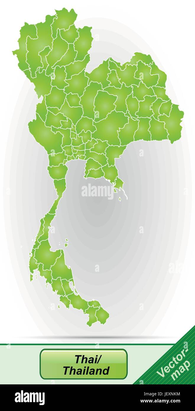 border map of thailand with borders in green - Stock Vector