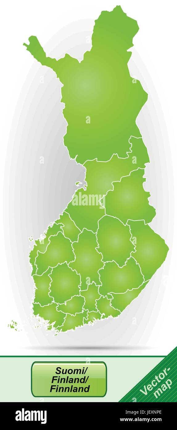 boundary map of finland with borders in green - Stock Vector