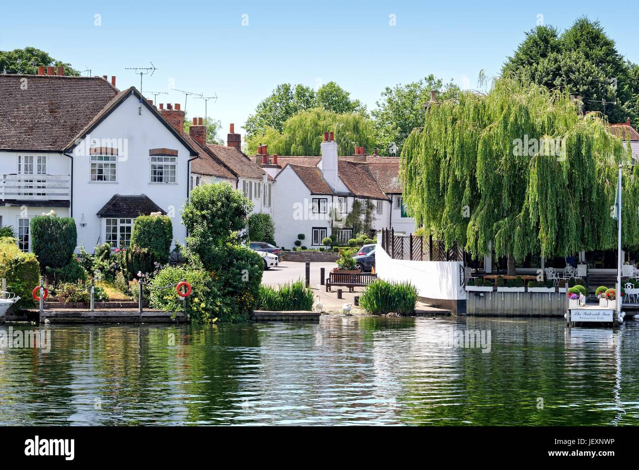 The riverside at Bray village Berkshire UK - Stock Image