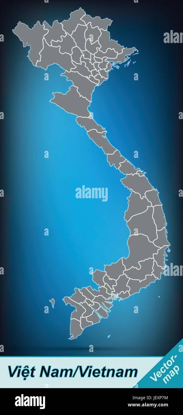 border map of vietnam with borders in bright gray - Stock Image