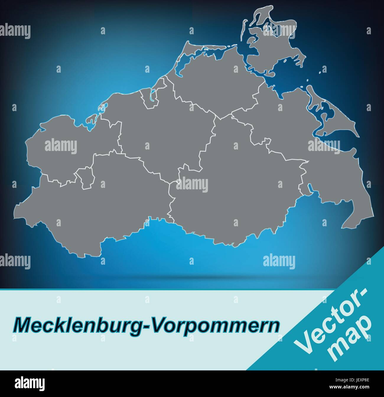 border map of mecklenburg-vorpommern with borders in bright gray - Stock Vector