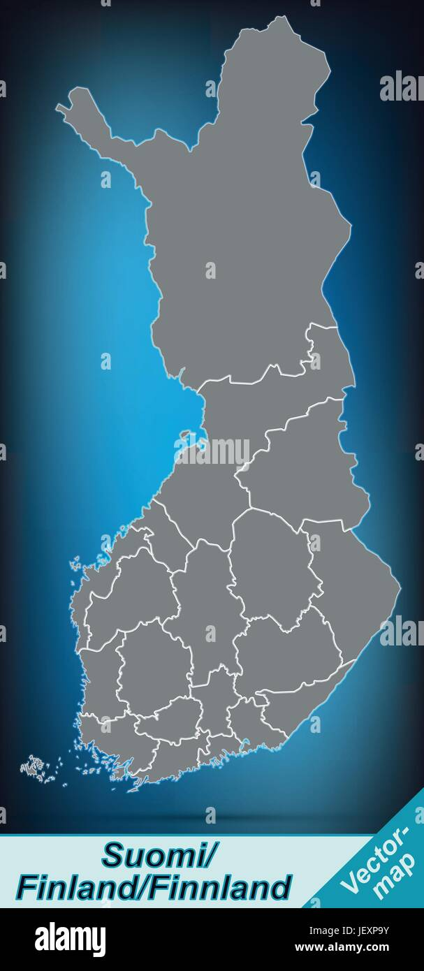 boundary map of finland with borders in bright gray - Stock Vector