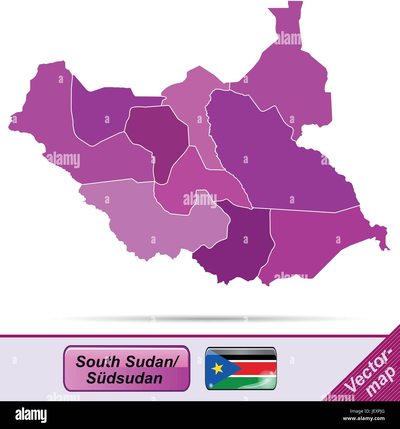 border map of southern sudan with borders in violet - Stock Image
