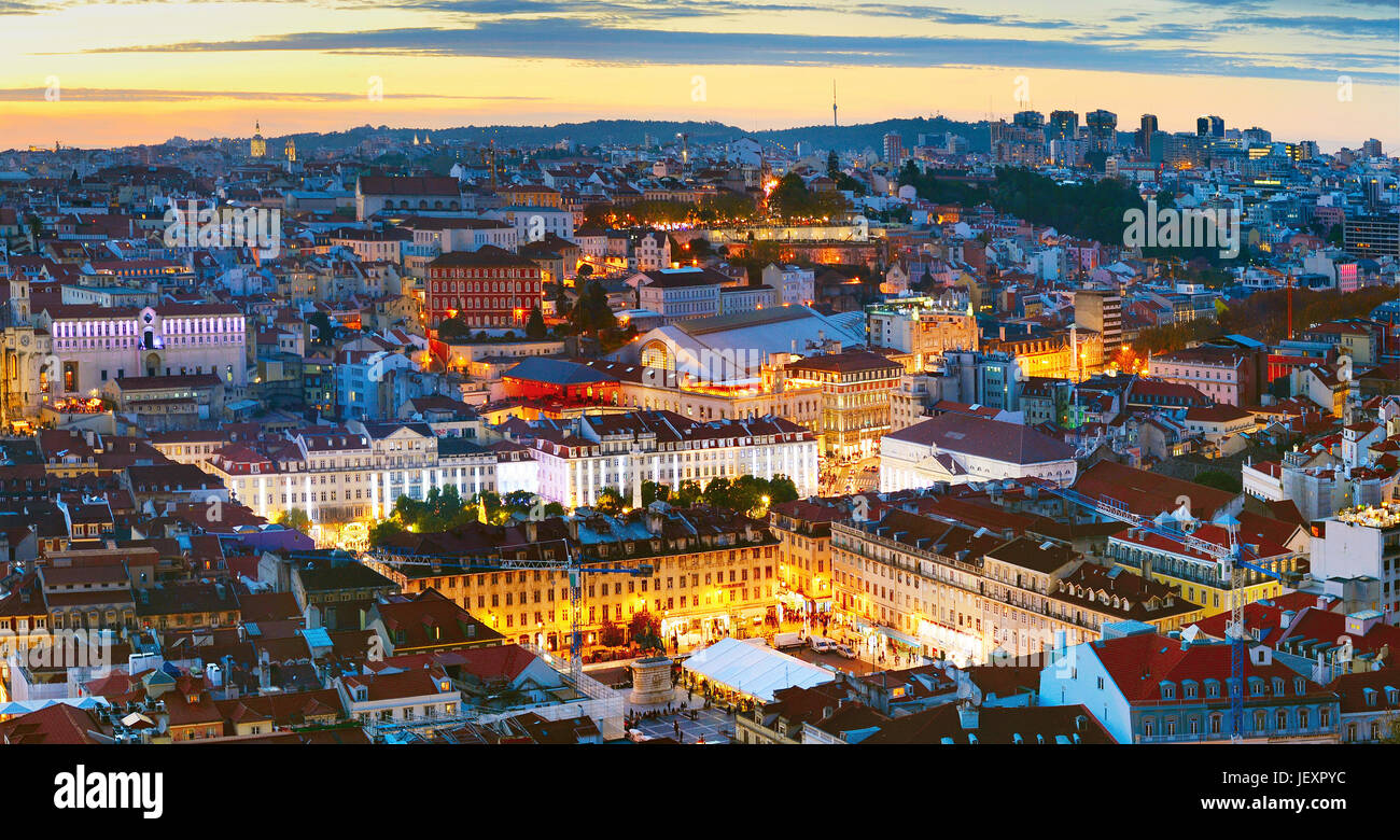 Panoramic view of Lisbon city center at twilight. Portugal - Stock Image