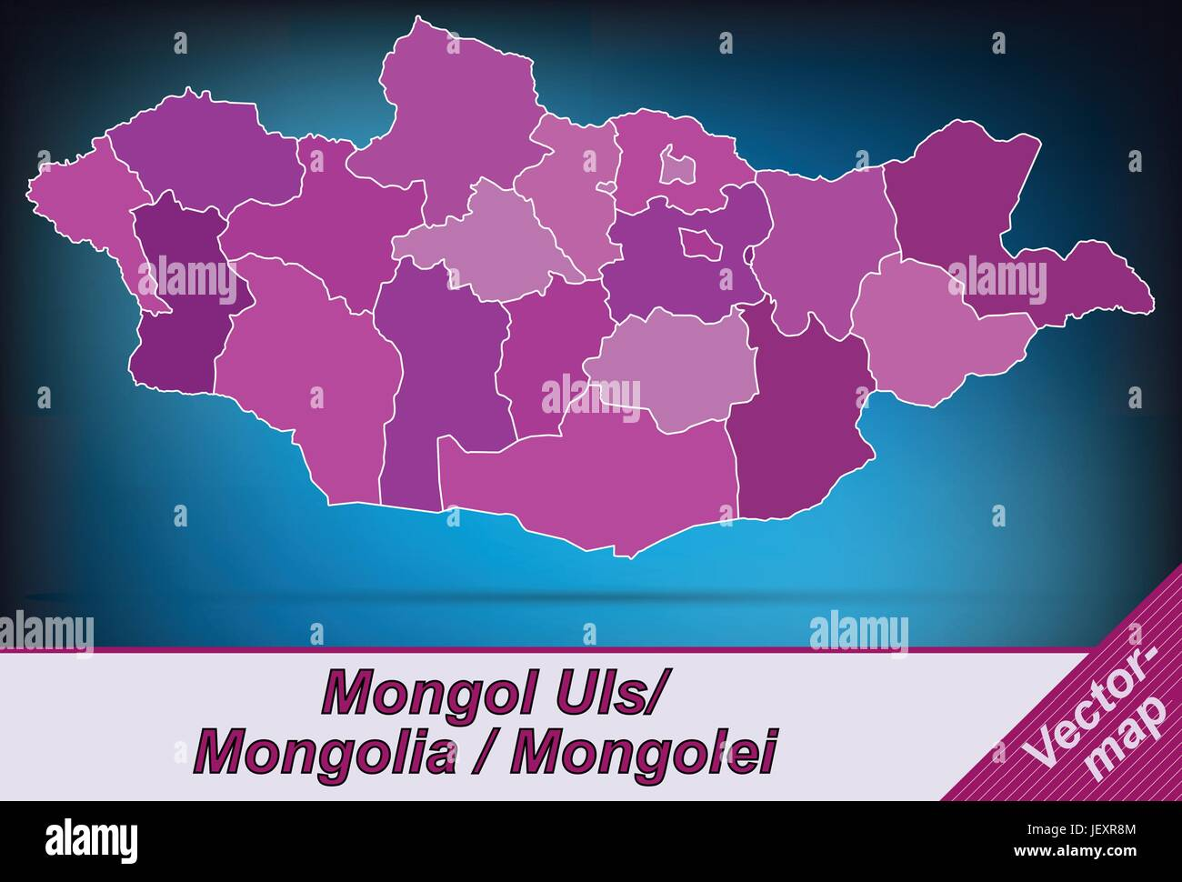 border map of mongolia with limits in violet - Stock Vector