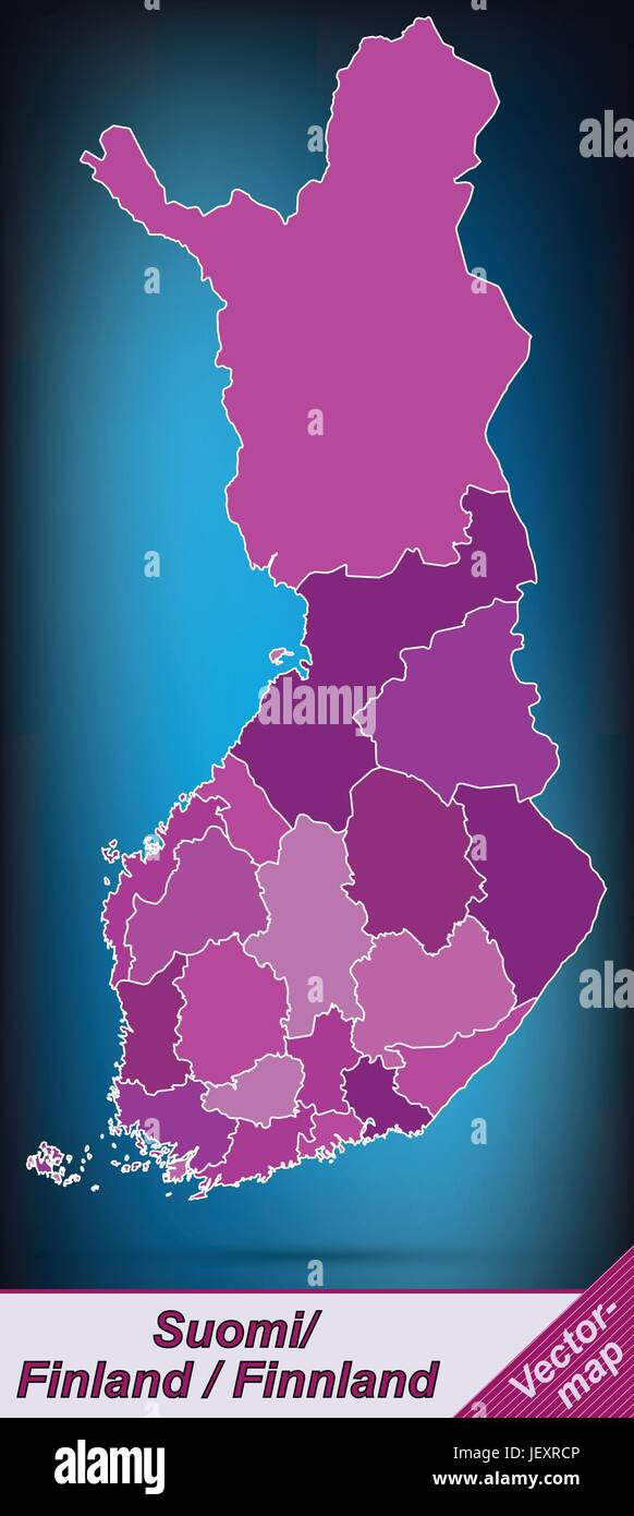 boundary map of finland with borders in violet - Stock Vector