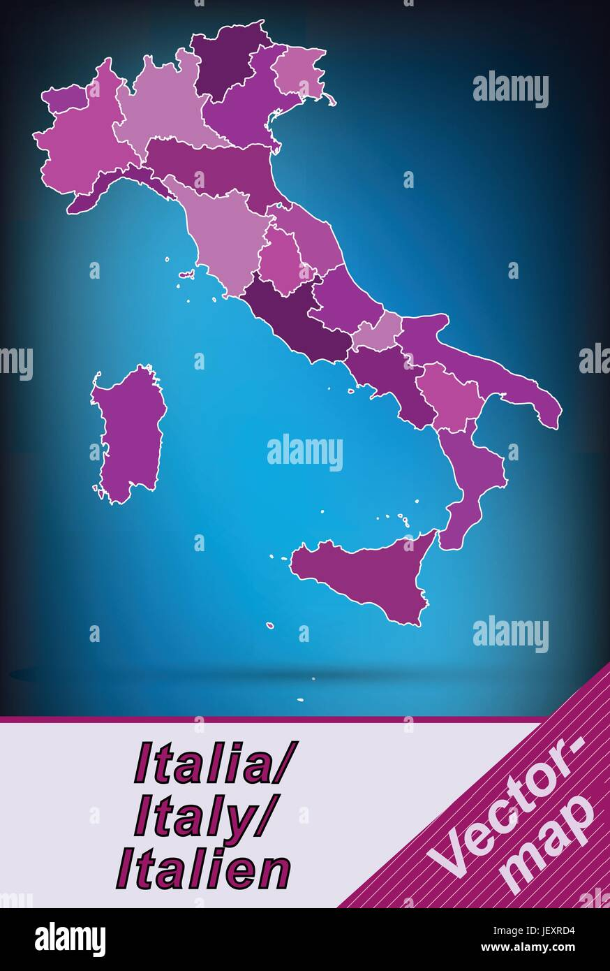border map of italy with borders in violet - Stock Vector