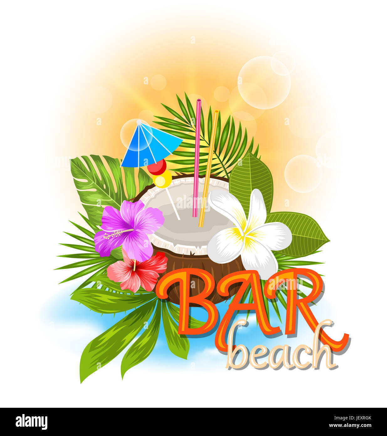 Illustration Beach Bar Background with Coconut Cocktail and Exotic Flowers and Leaves - - Stock Image