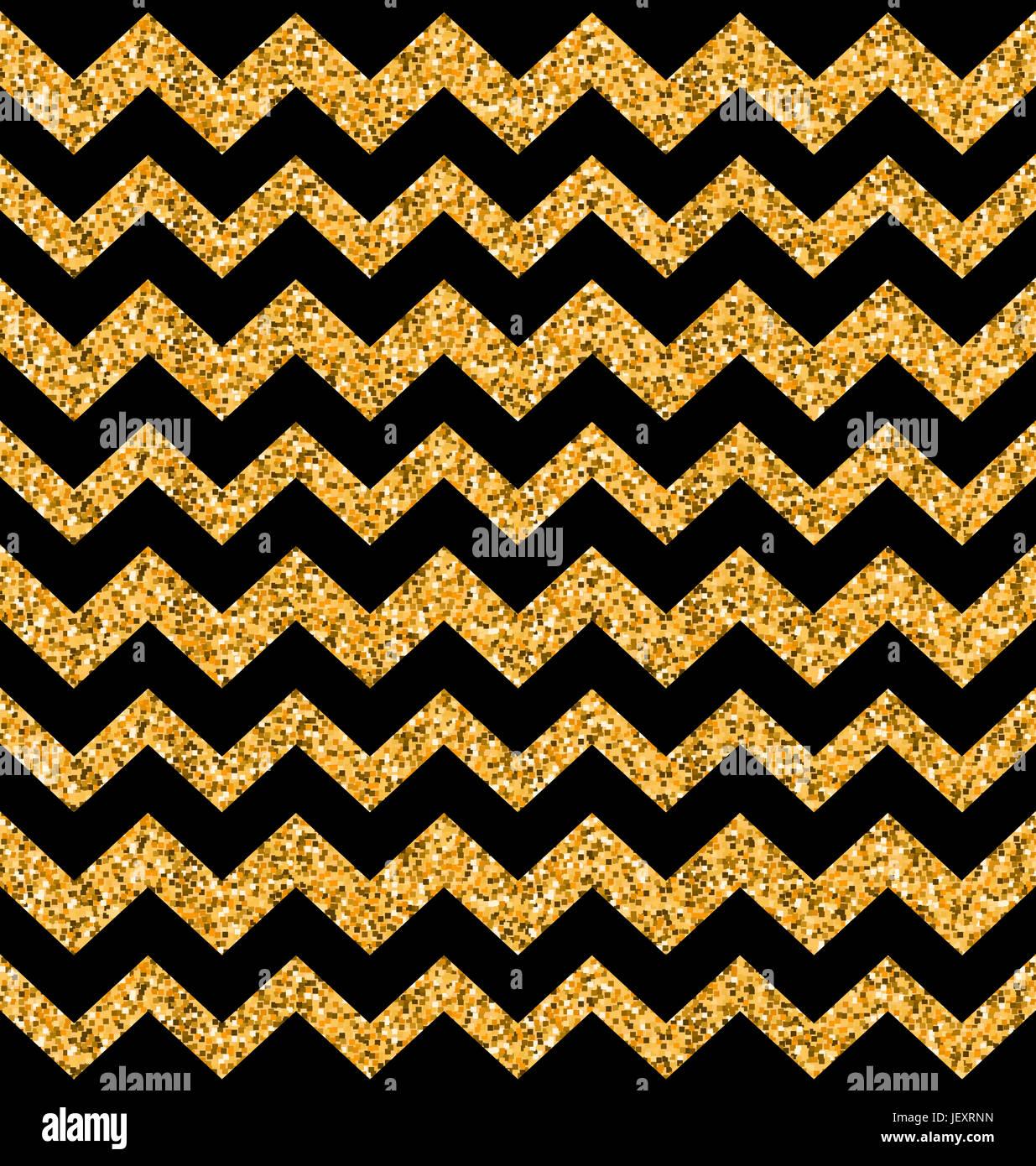 Illustration Glitter Seamless Zigzag Texture On Black