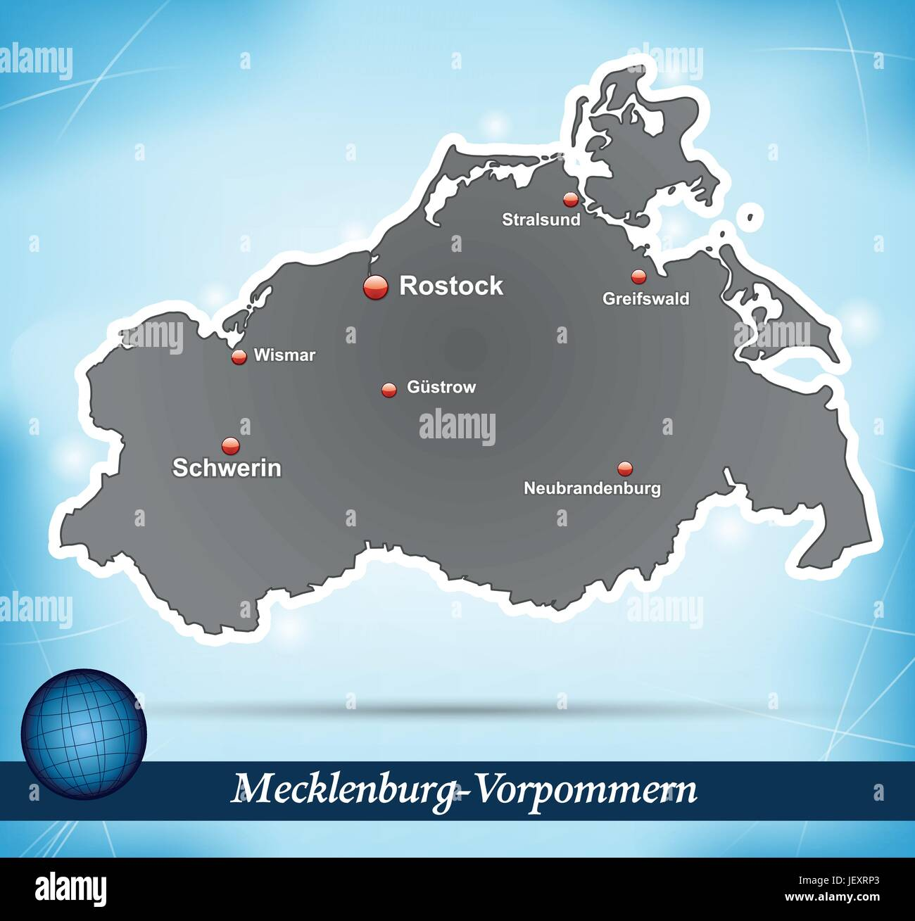 island map of mecklenburg-vorpommern abstract background in blue - Stock Vector