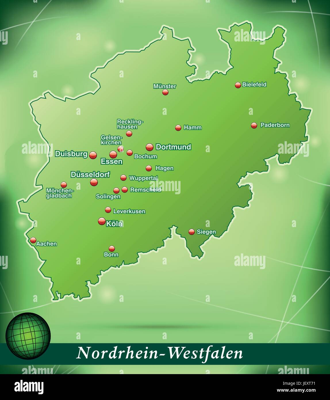 island map of north rhinewestphalia abstract background in green