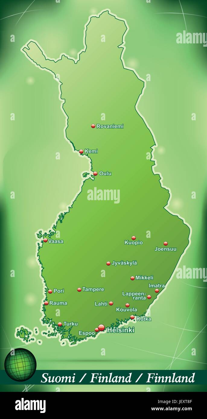 island map of finland abstract background in green - Stock Vector