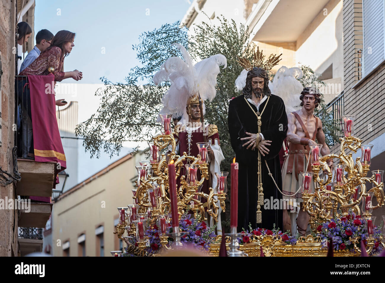 Linares, jaen province, SPAIN - March 17, 2014: Brotherhood of Jesus corsage making station of penitence, Linares, - Stock Image