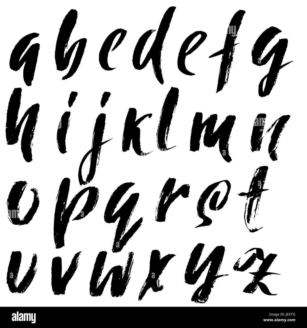 Hand drawn elegant calligraphy font modern brush lettering grunge style alphabet vector illustration