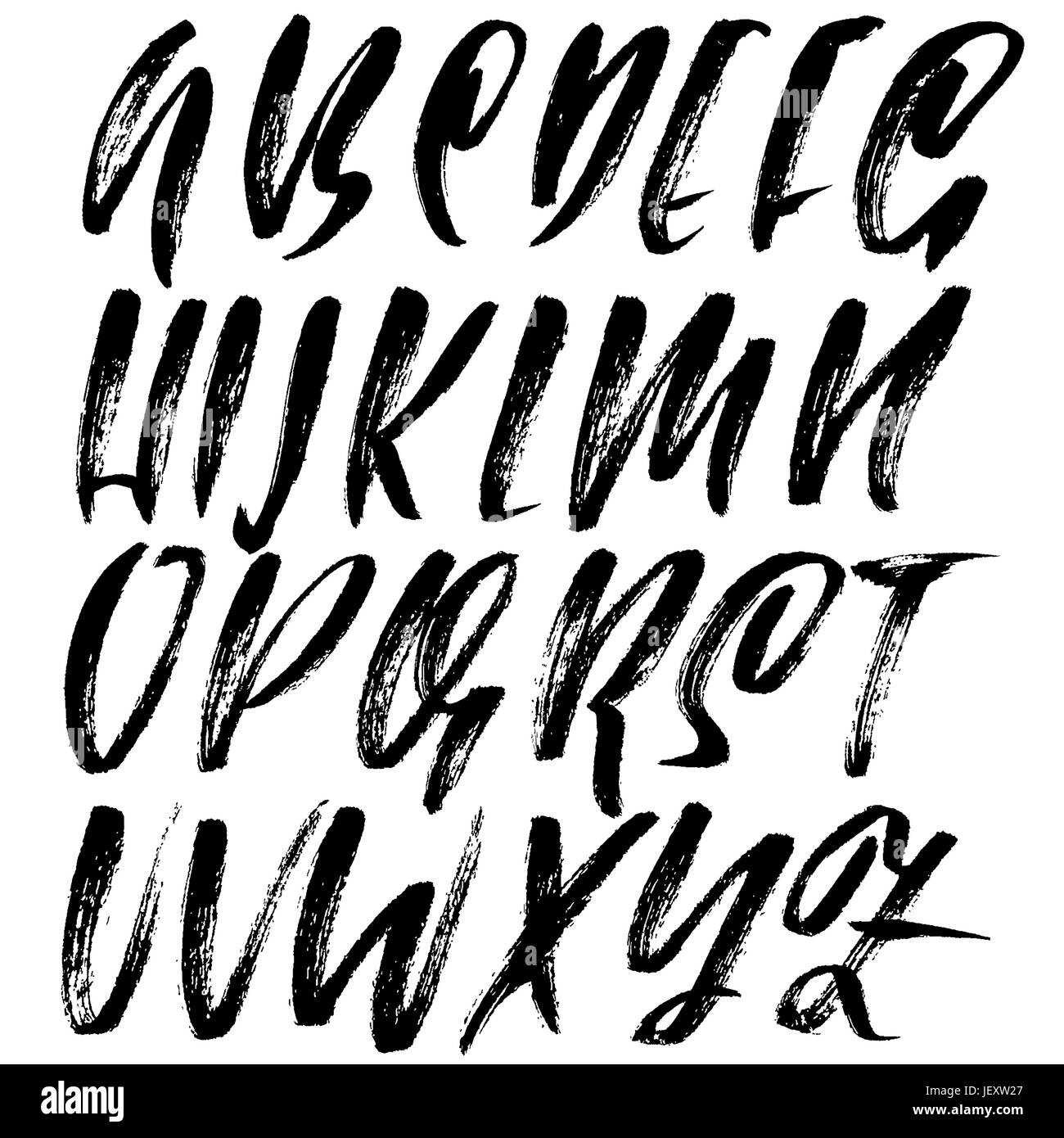 Hand drawn dry brush font modern brush lettering grunge style alphabet vector illustration