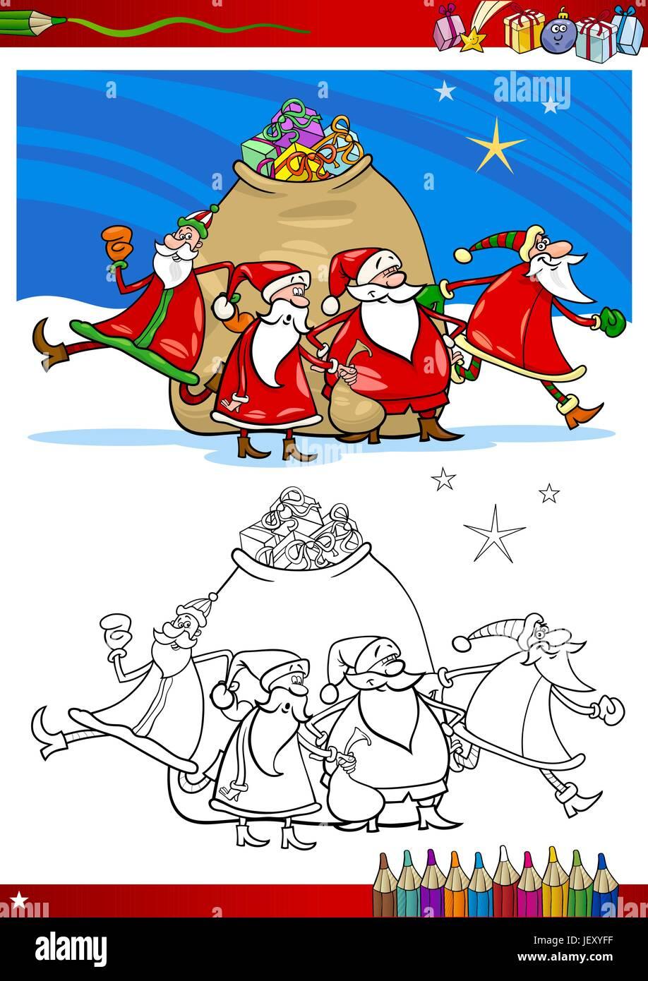 illustration, christmas, page, bookpage, cartoon, book, xmas, x-mas, laugh, Stock Vector