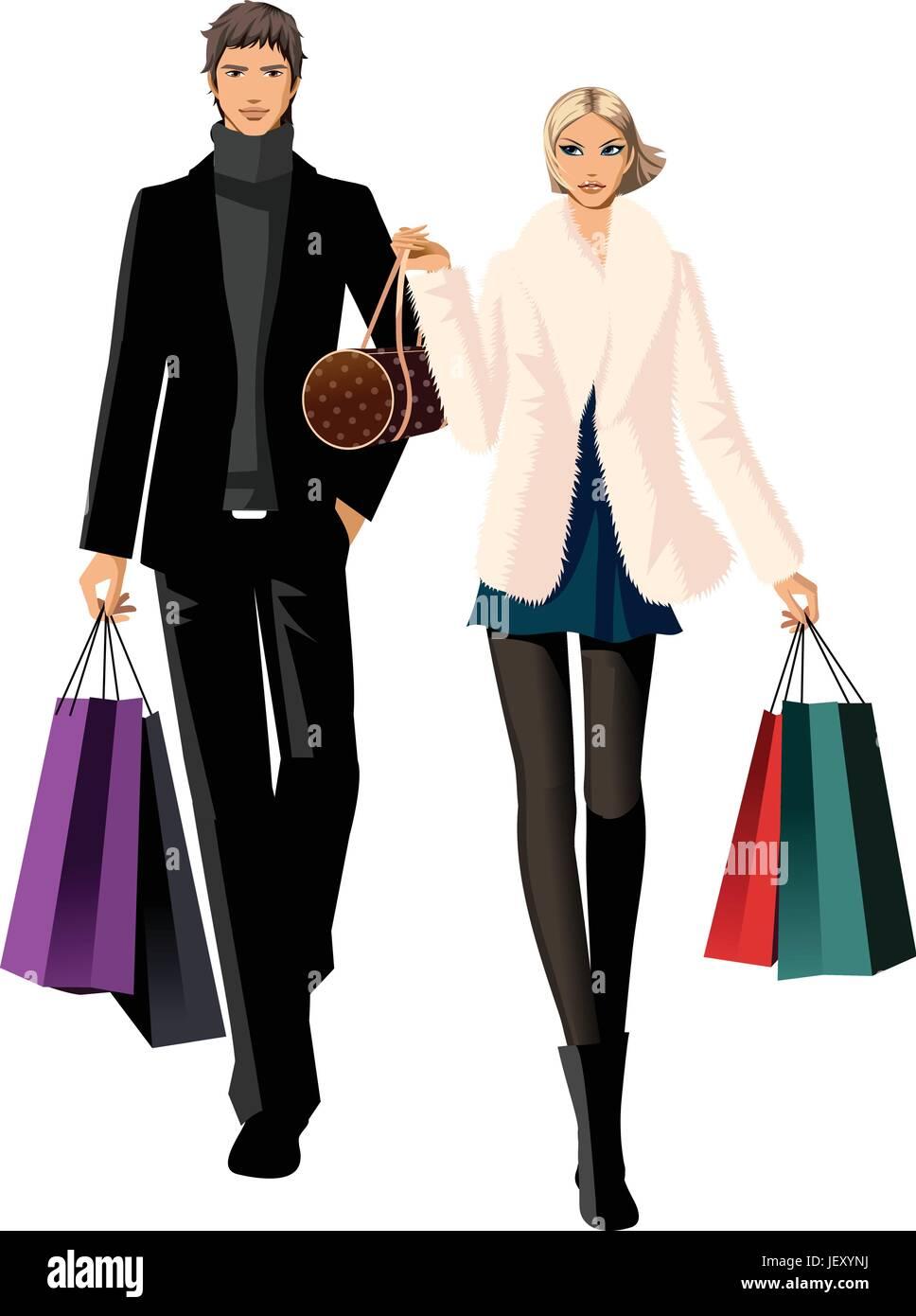 woman, profile, handbag, humans, human beings, people, folk, persons, human, - Stock Vector
