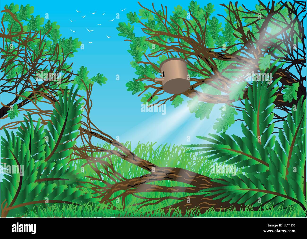 leaf, tree, garden, summer, summerly, sunlight, spring, outdoor, outdoors, - Stock Vector