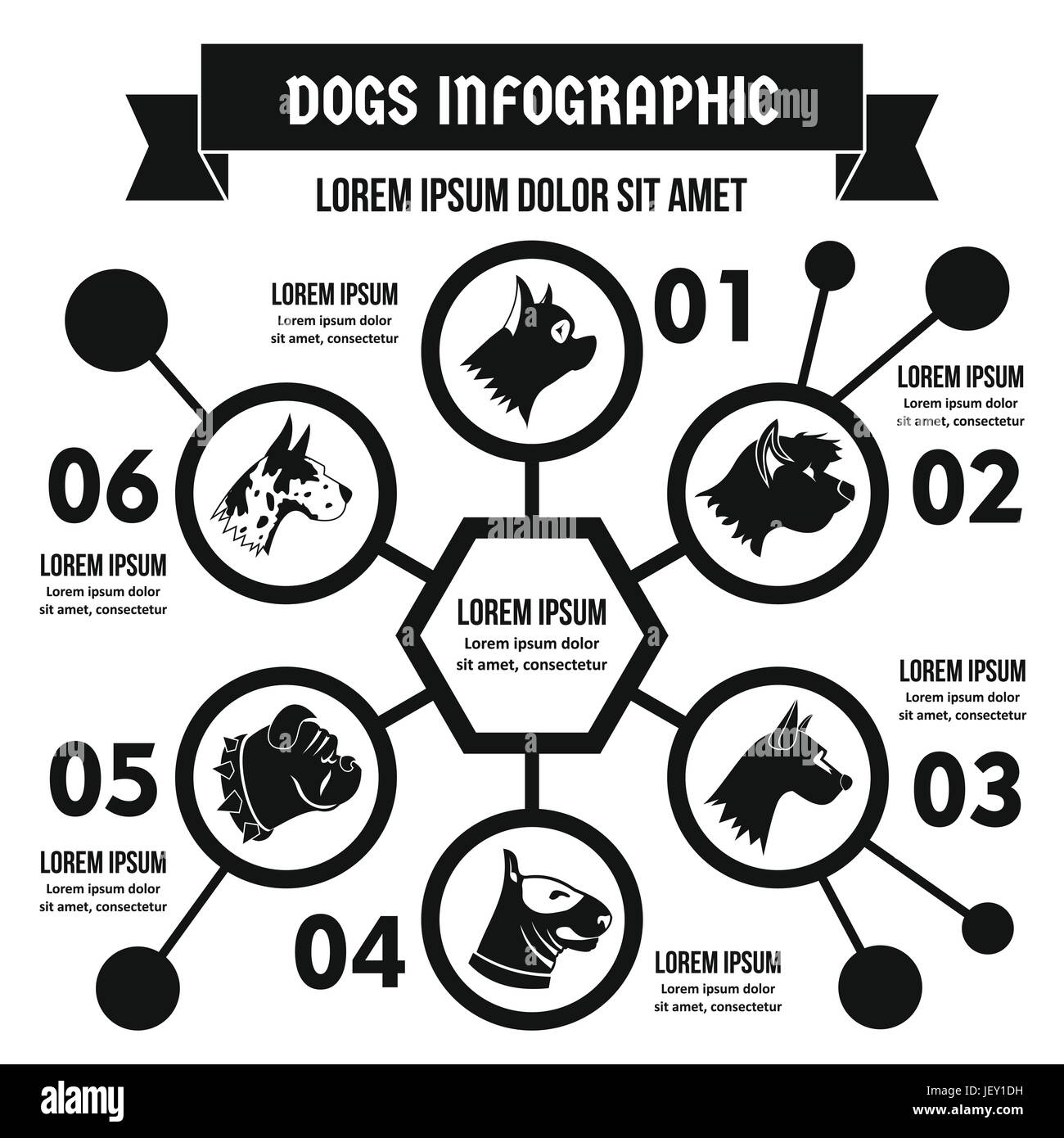 Dog breeds infographic concept, simple style - Stock Image