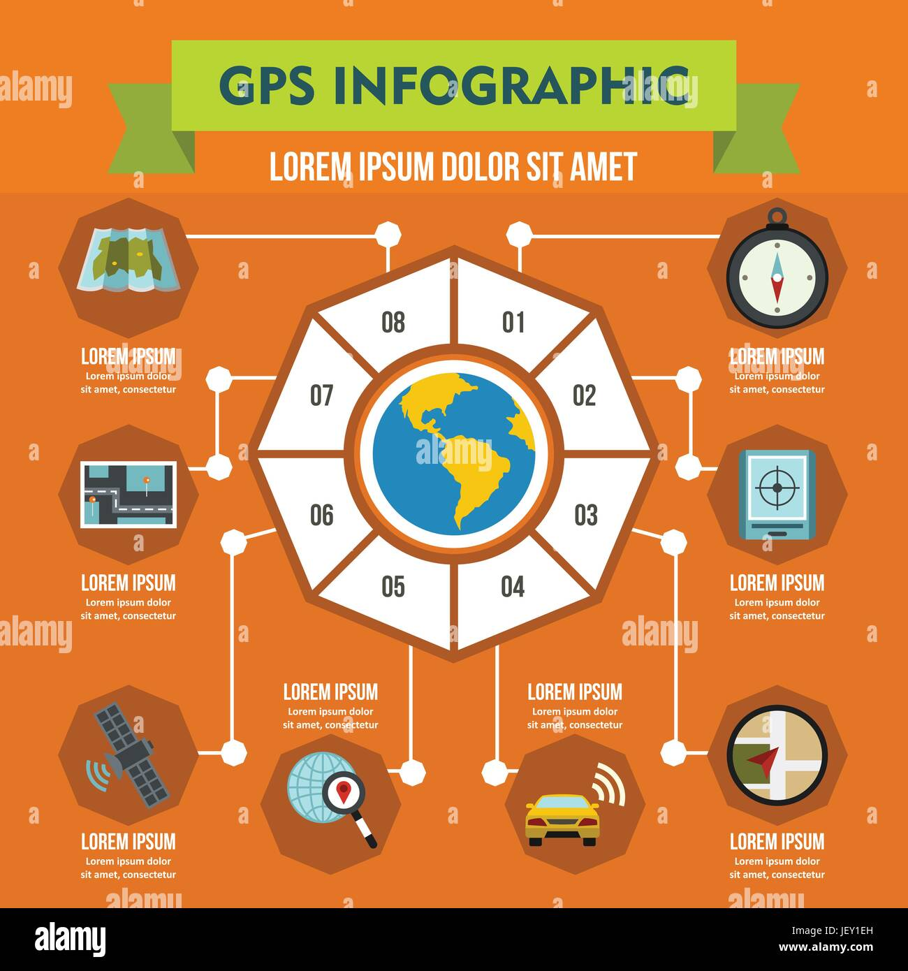 GPS navigation infographic concept, flat style - Stock Image