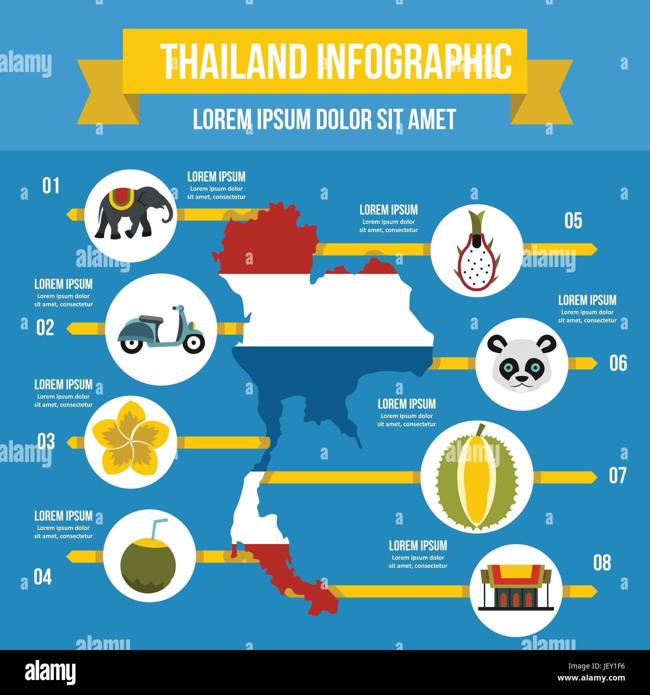 Thailand travel infographic concept, flat style - Stock Vector