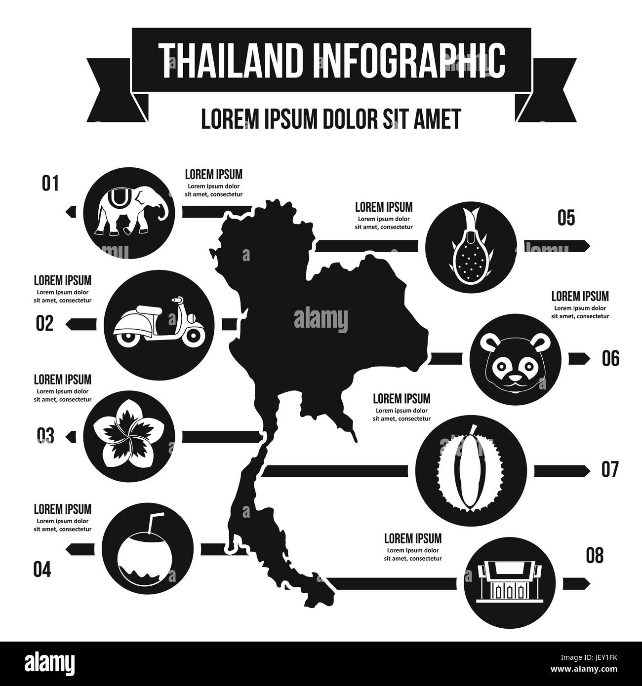 Thailand travel infographic concept, simple style - Stock Vector