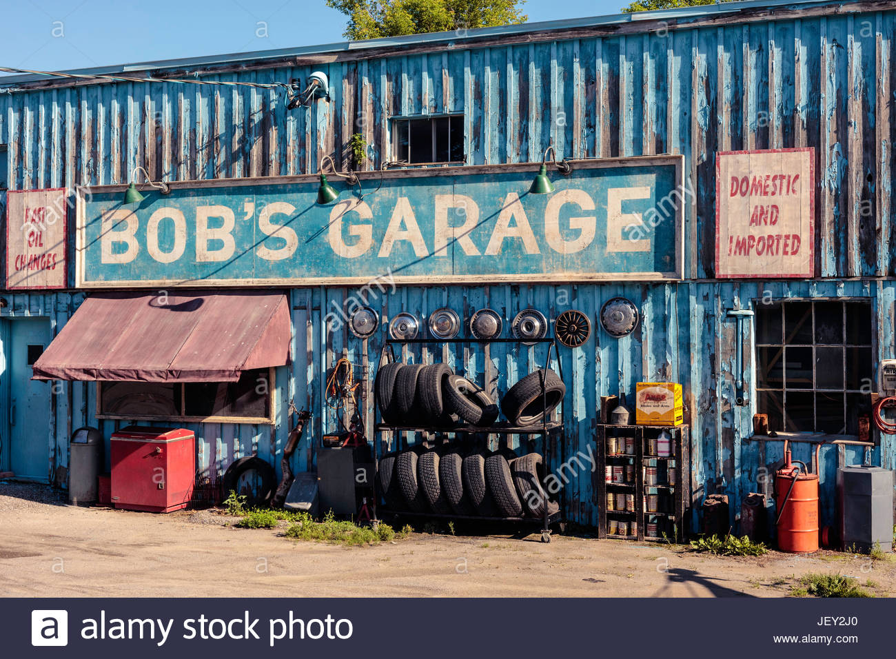 movie set film production depicting 1950s gas station garage  petrol station filling station service station automobile - Stock Image