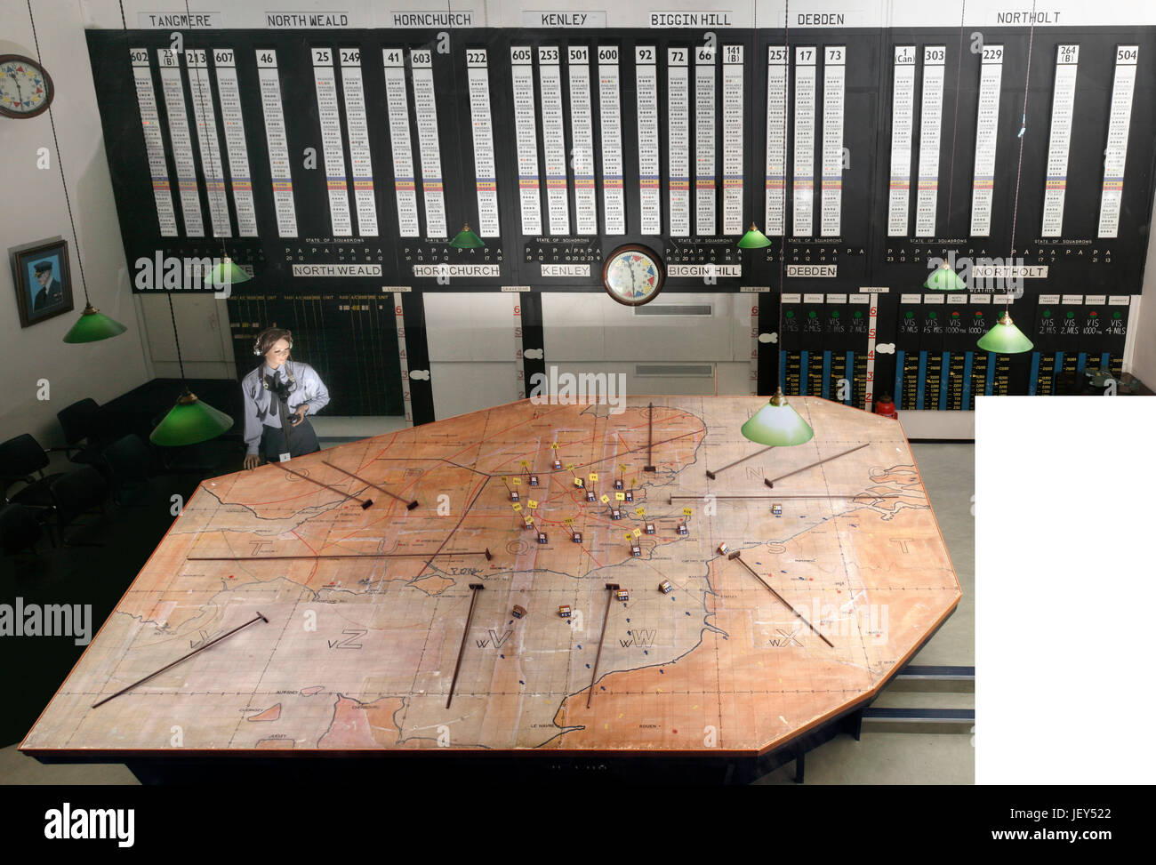 Uxbridge surviving Battle of Britain No 11 Group Operations Room with modern items blanked out - Stock Image