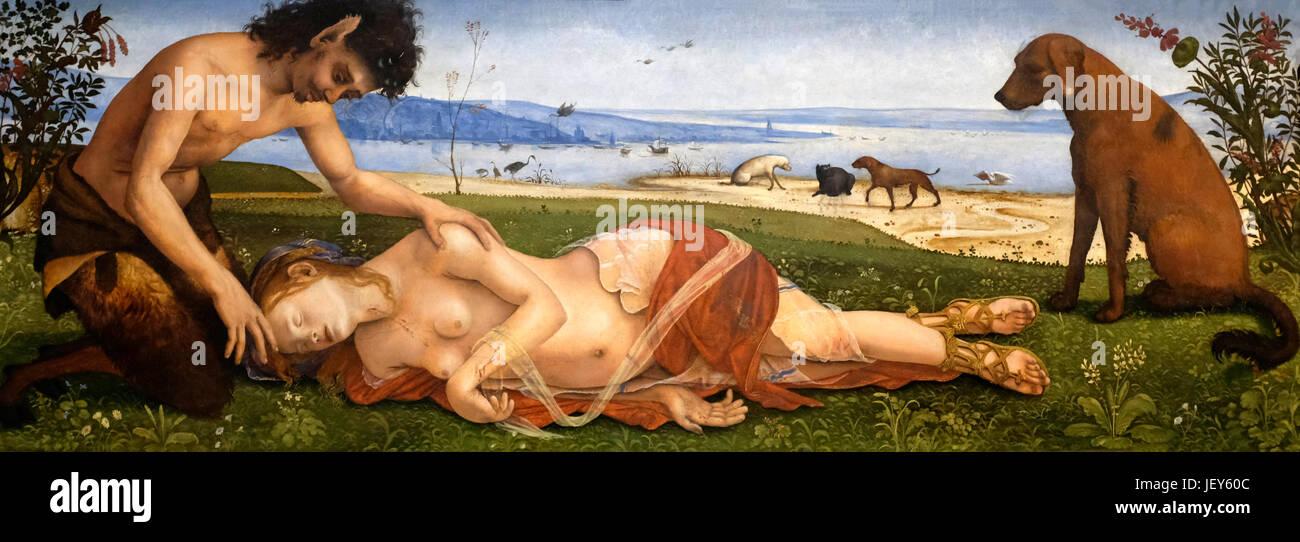 A Satyr mourning over a Nymph, circa 1495 - Piero di Cosimo - Stock Image