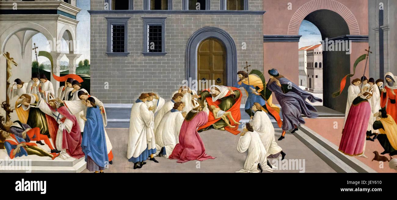 Three Miracles of Saint Zenobius, circa 1500, Sandro Botticelli - Stock Image