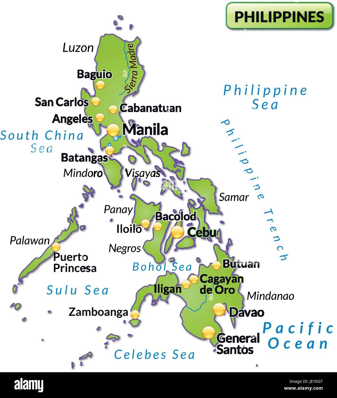 island map of philippines as an overview map in green Stock ...