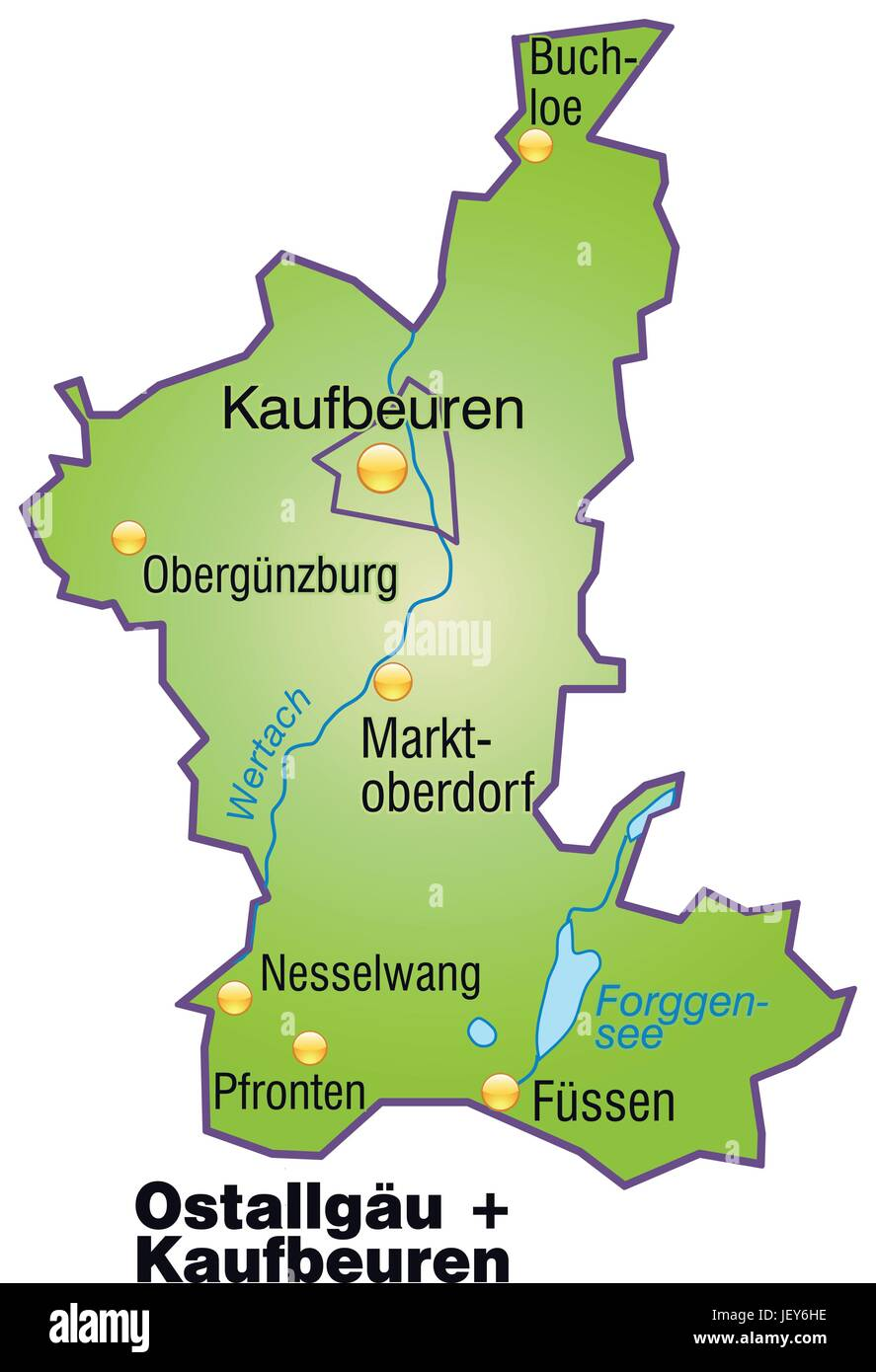 Map Of Ostallgaeu Kaufbeuren As An Overview Map In Green Stock
