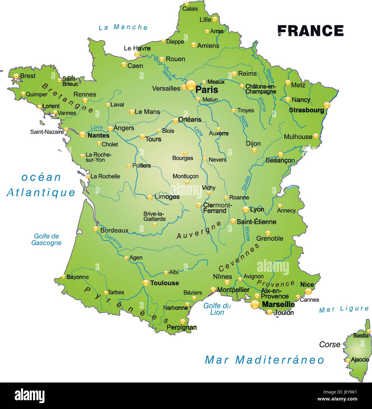france card outline borders atlas map of the world map Stock