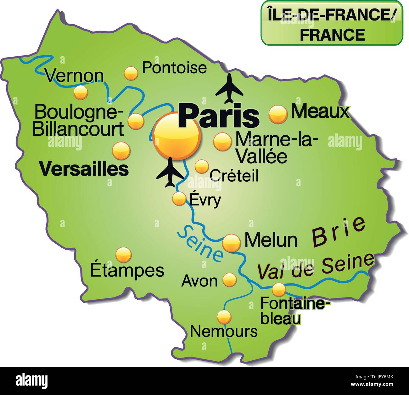 Map Of Ile De France As An Overview Map In Green Stock Vector
