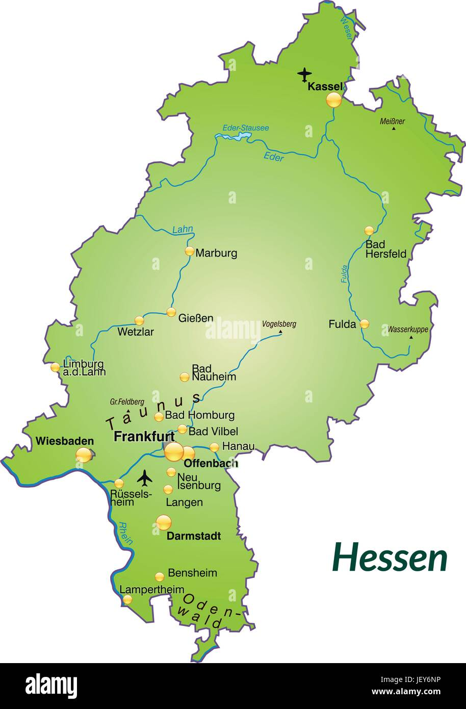 Bad Homburg Germany Map.Hessen In Germany As An Island Map With All The Important Stock