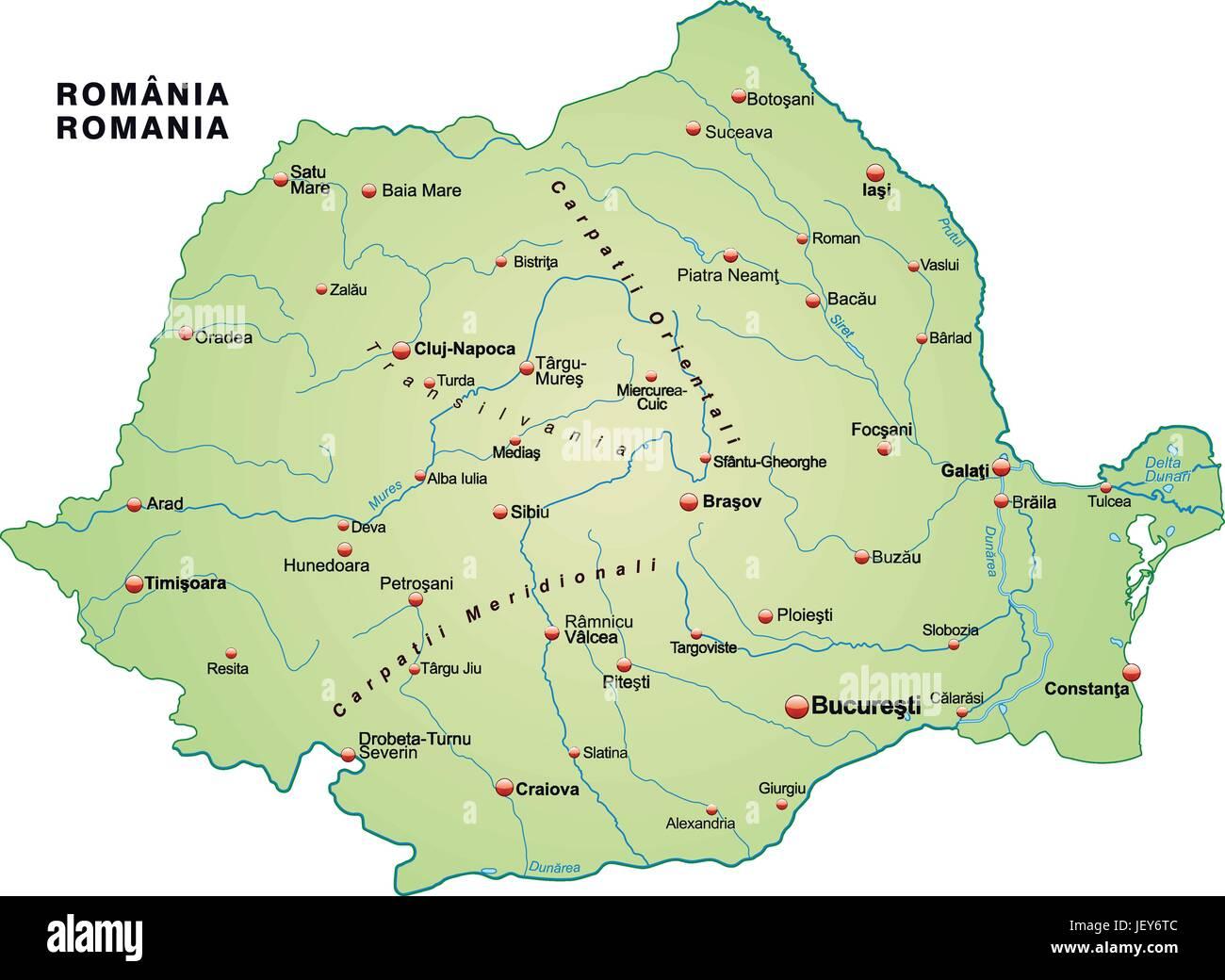 Card, Outline, Romania, Borders, Atlas, Map Of The World, Map, Rumnienkarte,