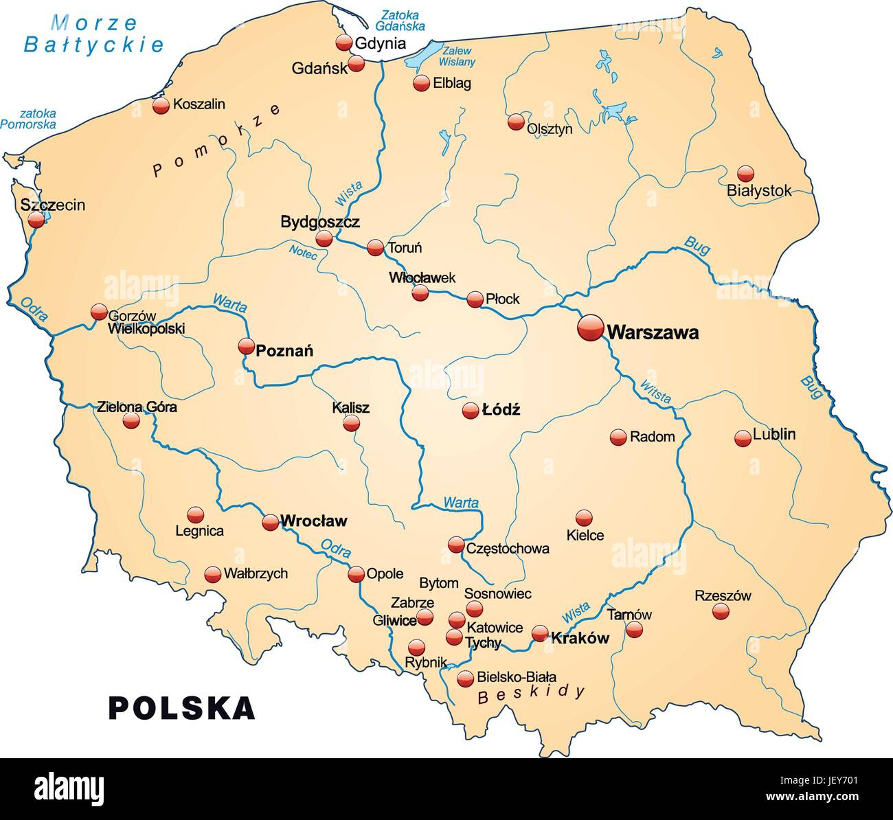 Poland Card Outline Borders Atlas Map Of The World Map Stock