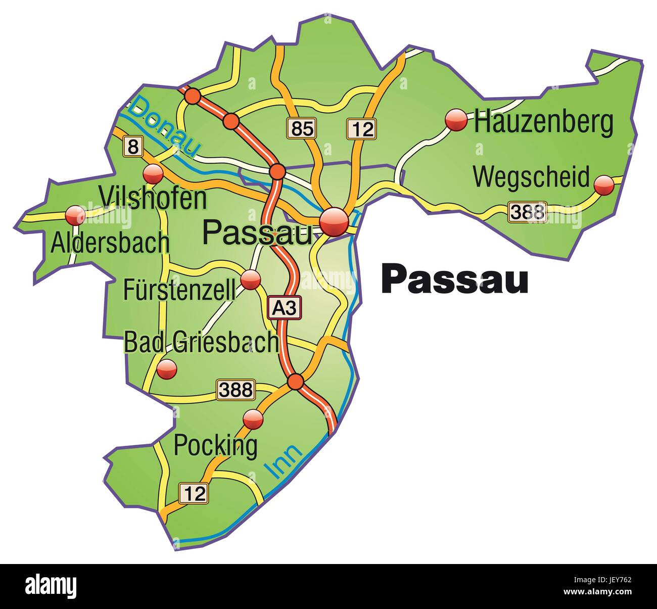 Map Passau Stock Vector Art Illustration Vector Image