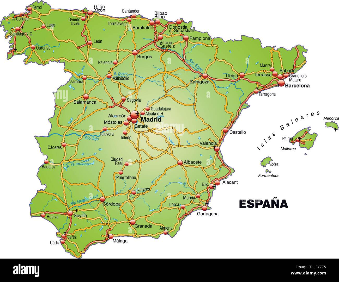 map of spain with transport network Stock Vector Art & Illustration