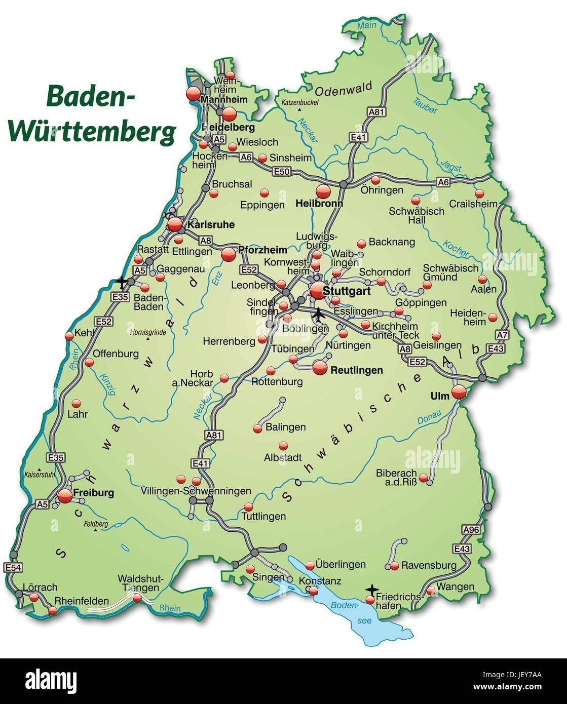 Map Of Badenwurttemberg Stock Photos Map Of Badenwurttemberg