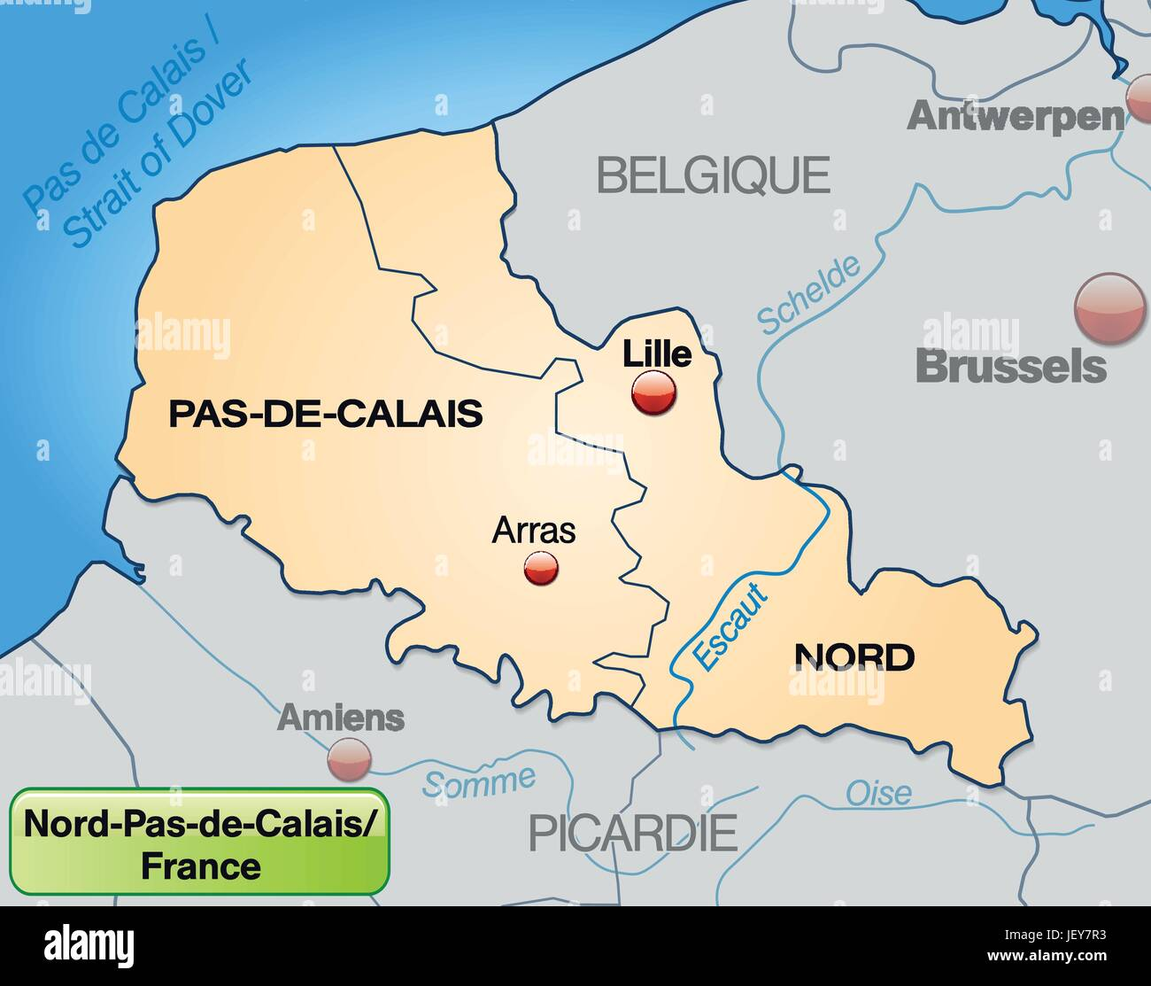 map of nord-pas-de-calais with limits in pastelorange Stock Vector Calais France Map on