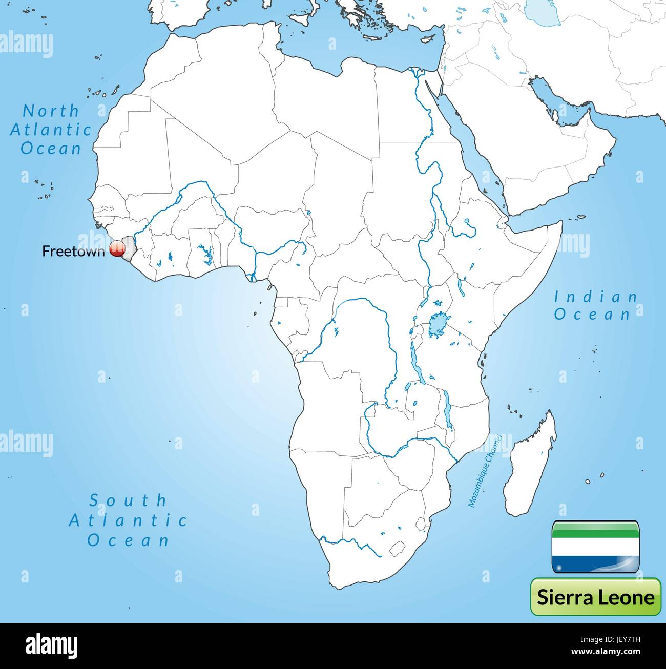 map of sierra leone with capitals in gray - Stock Image