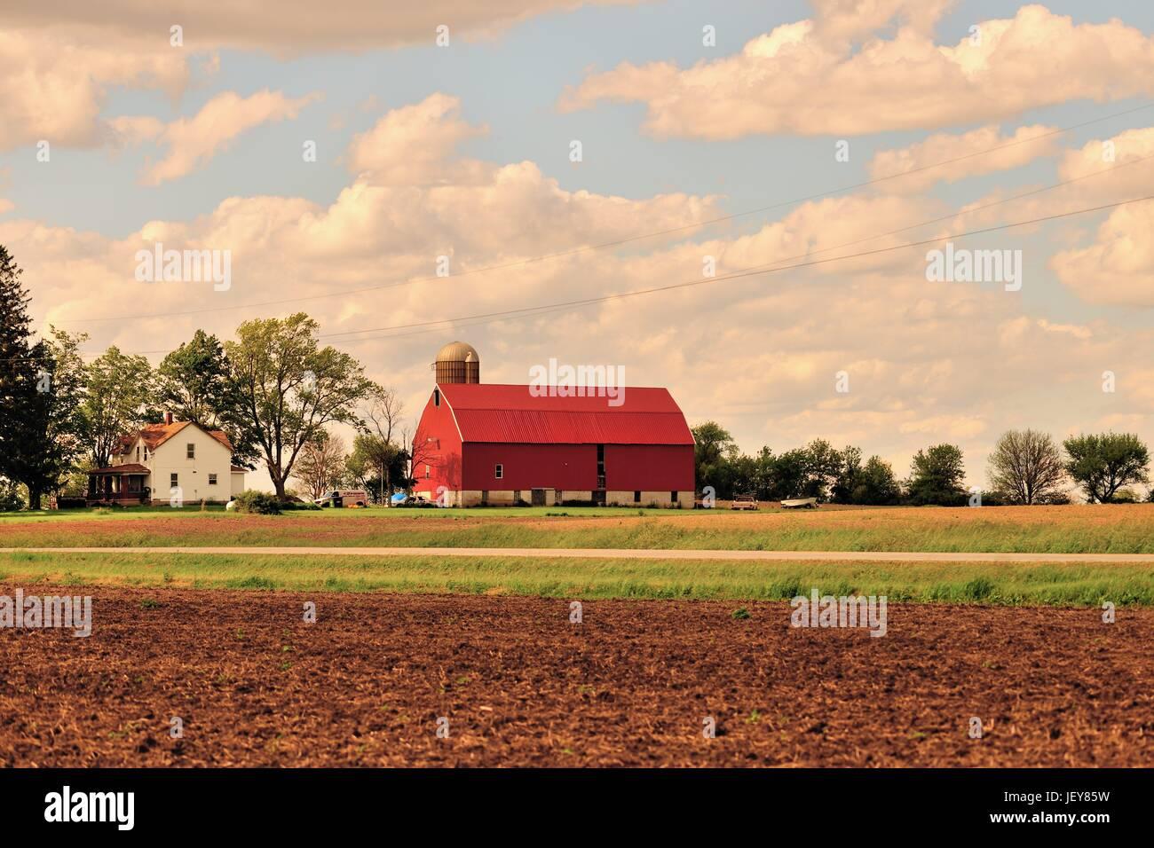 Red barn and farmhouse near tilled fields. Burlington, Illinois, USA - Stock Image