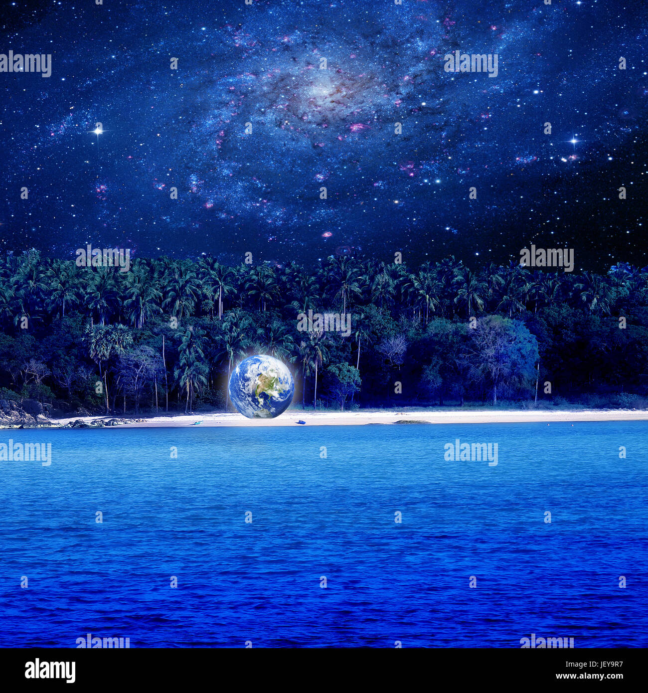 Conceptual Image Of World On Island Over Galaxy Sky Nasa World Map