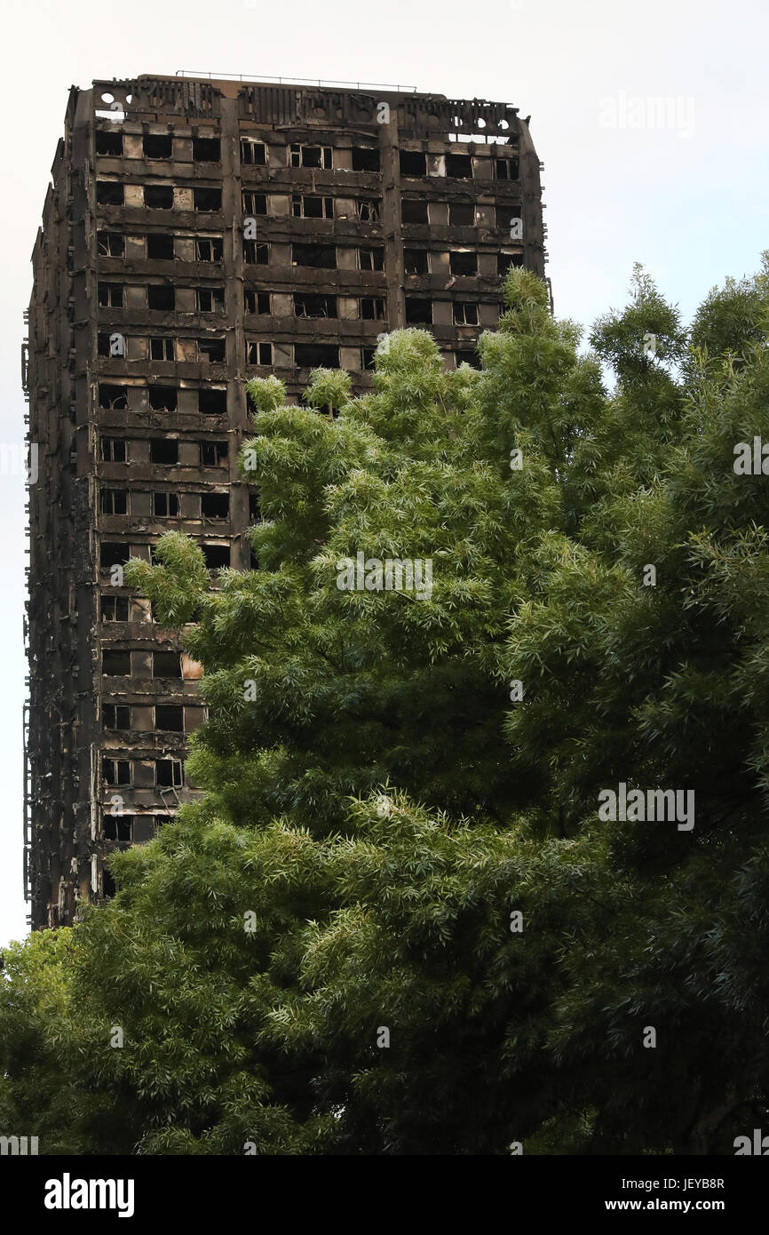 London, Grenfell Tower after fire - Stock Image