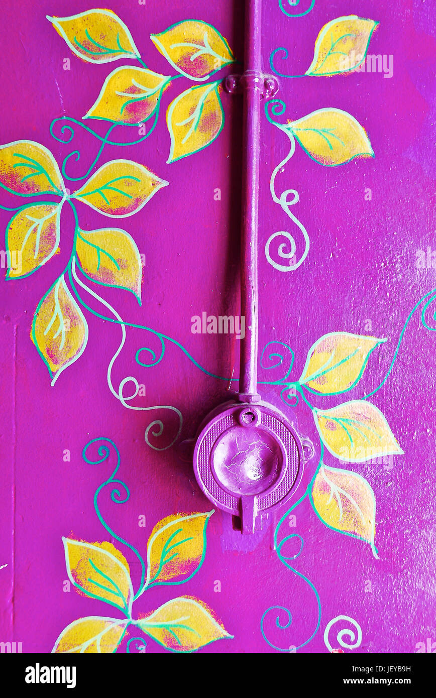 Old Unused Electric Light Switch On Wall Painted Purple With Stock