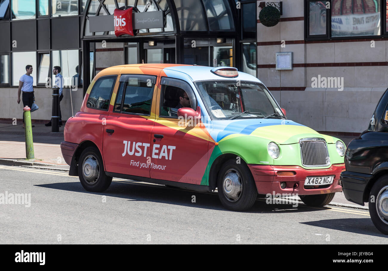 Taxi Painted In The Colours And Pattern Of Just Eat As An