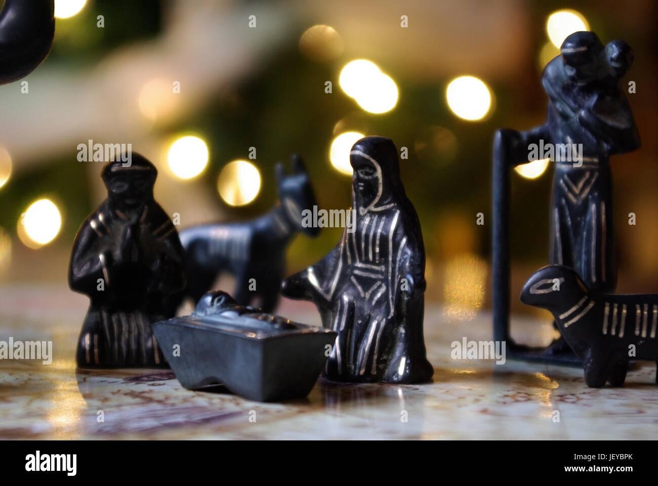Bidriware Indian Nativity Scene Stock Photo